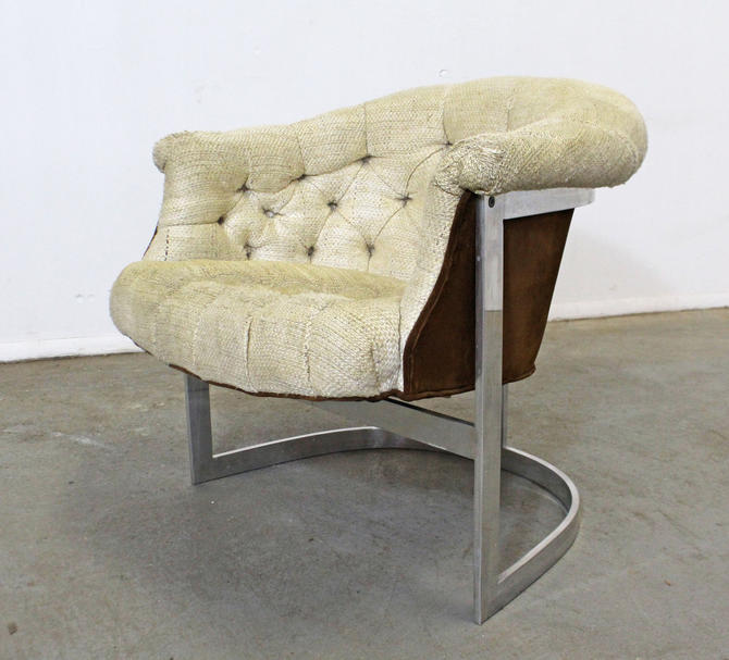 Mid-Century Modern John Stuart Tufted Steel Base Lounge Chair by AnnexMarketplace
