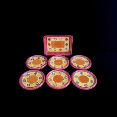 Vintage Modern Eduardo Vega Hand Painted Pottery Set of 6 Coasters & Small Tray Cuenca Ecuador Ceramica Vega 1970s Whimsical by SwankyChaperooo