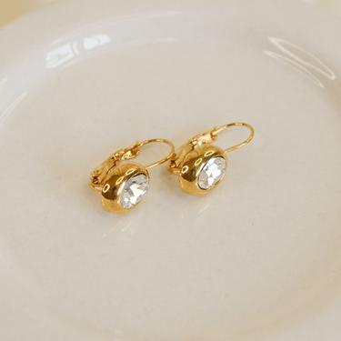 gold cz dangle drop earring, gold cz earring, gold earring, gold cz dangle, gold cz drop earring, gold vintage earring, minimal earring by melangeblancdesigns