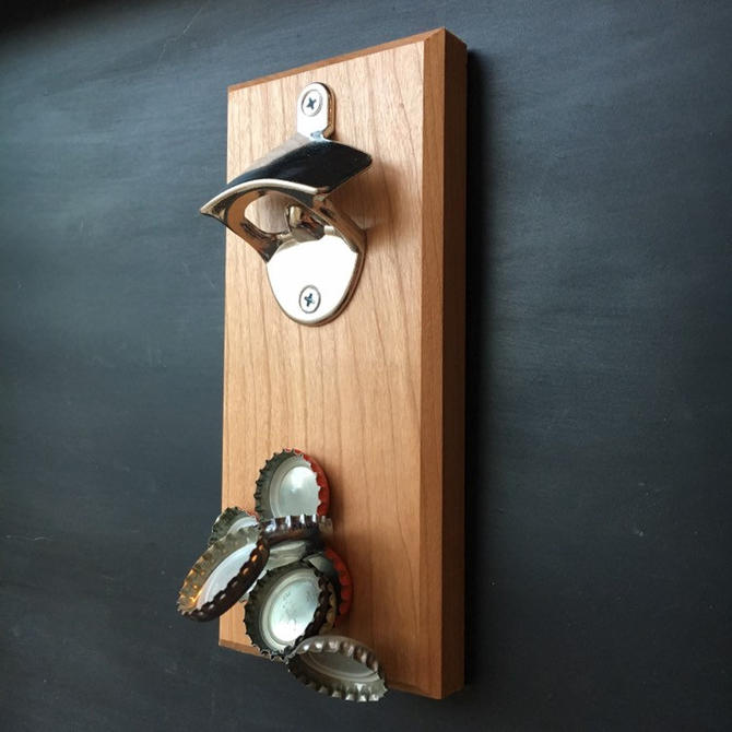 Magnetic Cherry Bottle Opener - Cap-Catching, Refrigerator or Wall Mounted by TheNimbleBarber