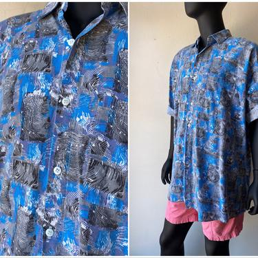 80s radical print summer oxford shirt / streetwear Skater top / printed short sleeve button down / XXXL / 3XL by AmericanDrifter