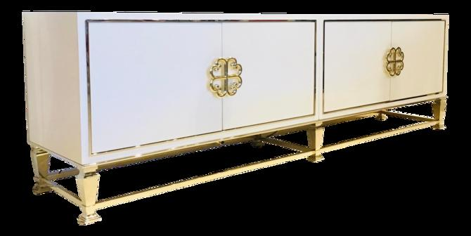 Caracole Signature Modern White and Gold Media Cabinet