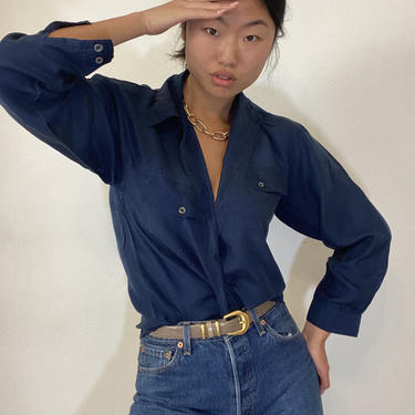 90s silk pocket shirt / vintage navy blue sand washed tissue thin silk button down shirt blouse | L by RecapVintageStudio