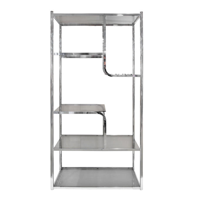 Design Institute Of America Etagere In Chrome With Brass Accents 1970s