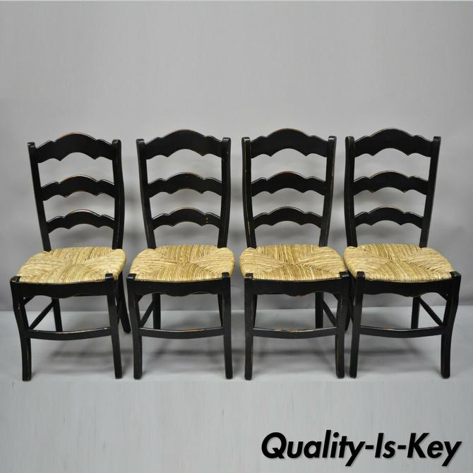 4 French Country Woven Rush Seat Ladder Back Ladder Back Country Dining Chairs