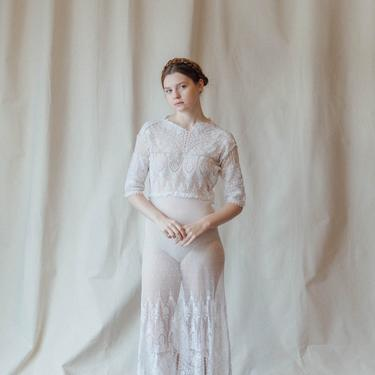 Antique french net lace dress antique fabric OOAK by DevoreVintage