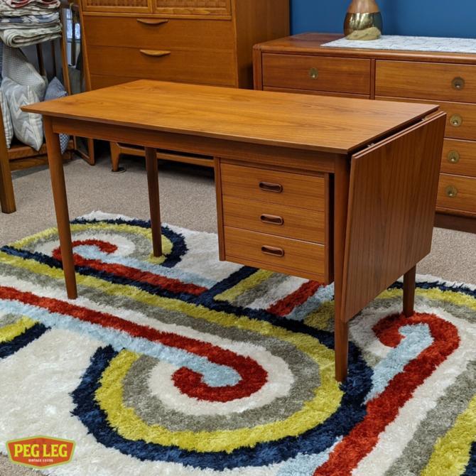 Danish Modern teak desk with drop-leaf and sliding drawer cabinet by Arne Vodder