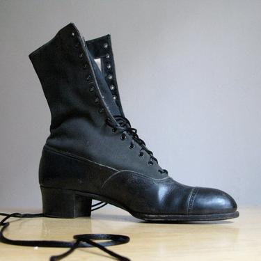 Antique Victorian Black Lace Up Boots by circlethesquare