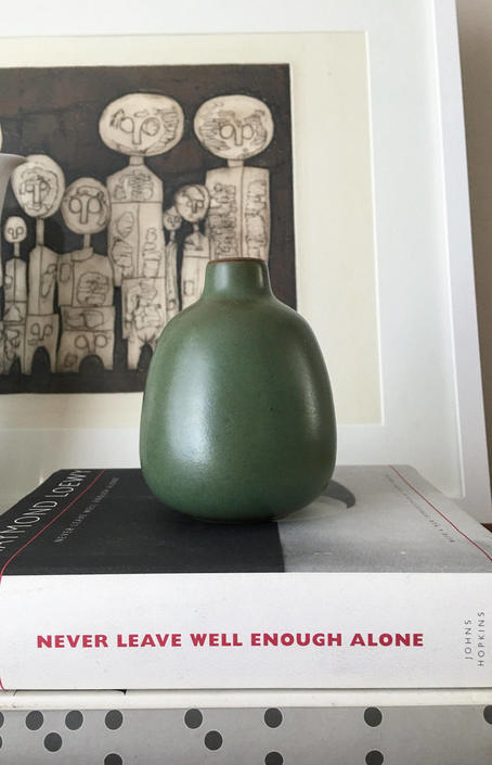 Mini Edith Heath Ceramics Bud Vase Green Vintage Midcentury 129 By