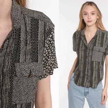 90s Button Up Shirt Black Floral Blouse Striped Short Sleeve Rayon Top Calico Shirt Grunge Boho 1990s Vintage Bohemian Small S by ShopExile
