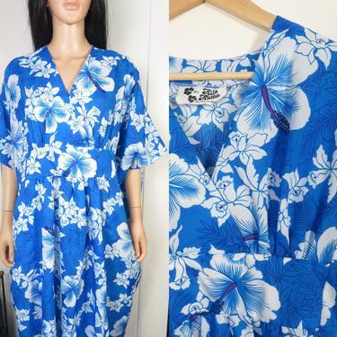 Vintage 80s Hilo Hattie Lightweight Hawaiian Caftan Muumuu Dress Size One Size Fits Most by VelvetCastleVintage
