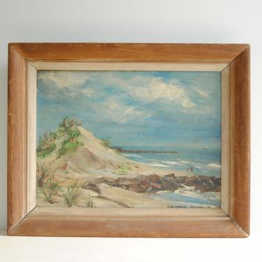 Vintage Beach Painting of Sand Dunes and the Ocean, Original Seascape Oil Painting, Framed Beach Painting by LittleDogVintage