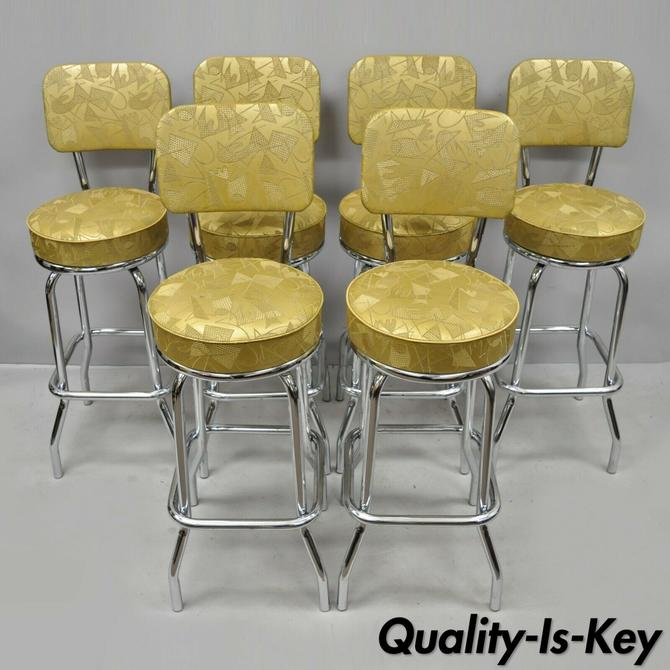 6 Vtg Mid Century Modern Metal Swivel Bar Stools by Krometal Mfg w/ Gold Vinyl