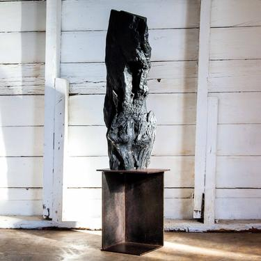 Via Fire Shou Sugi Ban Wabi Sabi Black Totem Sculpture by ReduxIndustry