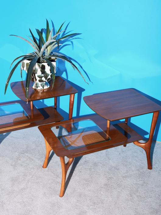 Pair of Wood and Glass Side Tables