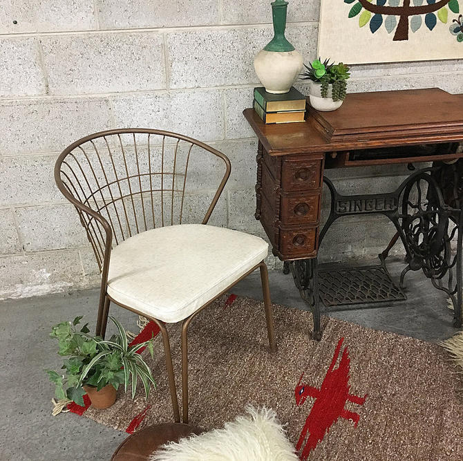 LOCAL PICKUP ONLY Vintage Daystrom Chair Retro 1960s Barrel Chair With Brown Wire Back Metal Frame + White Printed Vinyl Seat Living Room by RetrospectVintage215