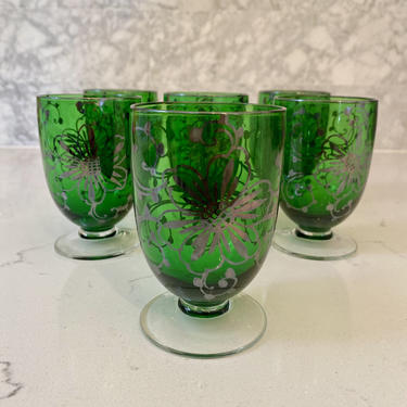 Emerald Green w/ Grey Floral Detail Glasses - Set of 6 by AntiquetoChicChicago