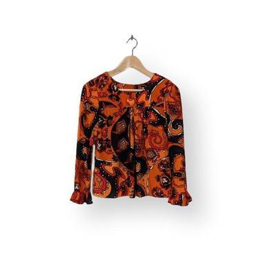 co chella'   2pc pant set   vintage 1970s boho paisley   vtg 70s ruffle trim top shirt   extra small/xs by danevintage