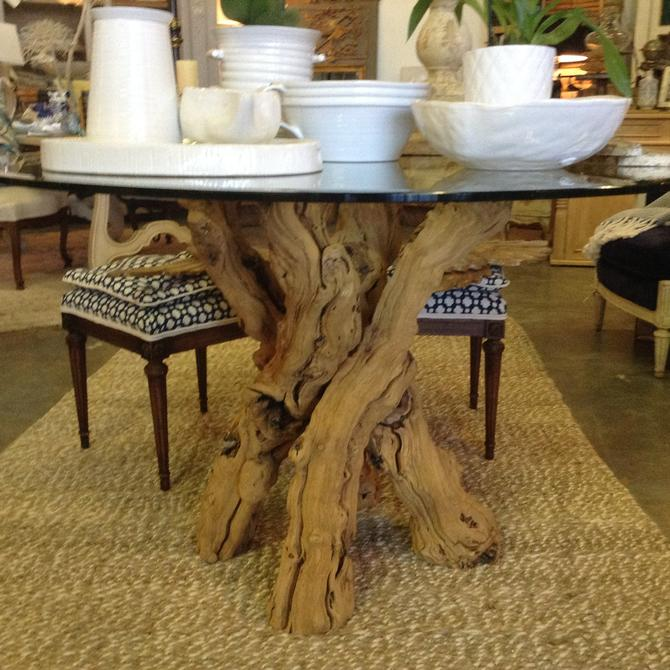 SOLD - Vintage twisted driftwood table with Glass top.