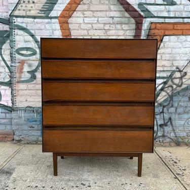 American danish tall 5 drawer dresser walnut mid century nice design very clean Stanley by symmetrymodern