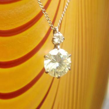"Vintage 14K White Gold & Yellow Cubic Zirconia Pendant Necklace, Brilliant Cut CZ Diamond, Delicate Gold Pendant Choker, 13 1/2"" Long by shopGoodsVintage"