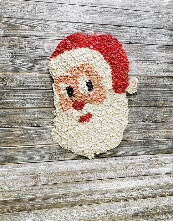 Vintage Plastic Popcorn Santa Claus, Retro Christmas Kitsch Wall Hanging, Melted Popcorn Santa, Window or Door Decoration, Vintage Christmas by AGoGoVintage