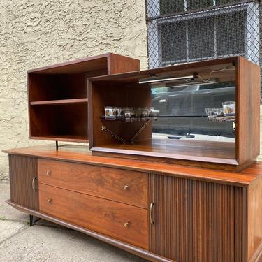 Mid century bookshelf mid century drop front bar mid century modern console cabinet by VintaDelphia