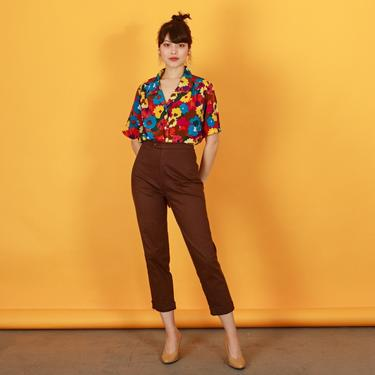 90s Brown High Waisted Stretchy Pants Vintage Straight Leg Skinny Trousers by AppleBranchesVintage