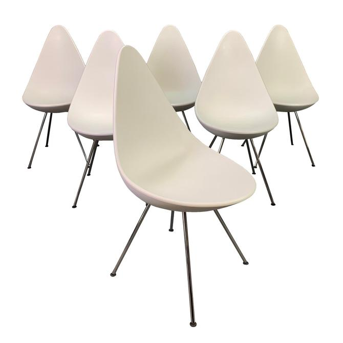 "Set of Six Vintage Mid Century Danish Modern ""Drop"" Dining Chairs by Arne Jacobsen for Fritz Hansen by AymerickModern"