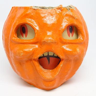 Small Retro 5 Inch Double Face 1950's Halloween Jack-O-Lantern, Vintage Pulp Paper Mache, Face on 2 sides, Antique JOL by exploremag