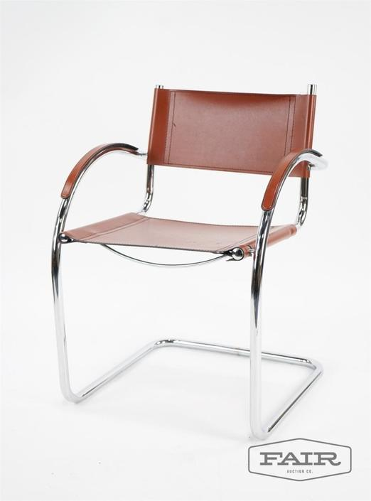 Cantilever Chrome Arm Chair with Red Sling
