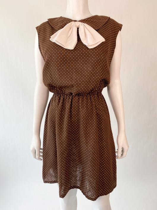 Brown Swiss Dot 1960's Mini Dress w/ Bow Detail