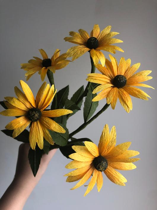 Crepe Paper Black-eyed Susan -- Paper Flowers for Weddings - Home Decor - Floral Wholesale by ReveryPaperFlora
