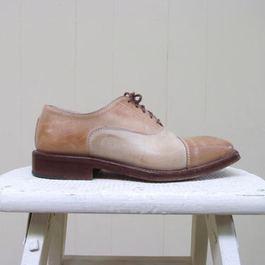 Vintage 1970s Spectator Shoes, 70s Brown Beige Two-toned Leather Oxfords, Cap Toe Lace Up Shoes, Italian Leather Shoes, Unisex Size 37 Eur by RanchQueenVintage