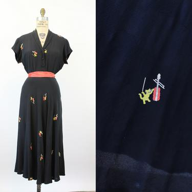Layaway Final Payment 1940s CAT & FIDDLE novelty print dress medium large   new spring OC by CrushVintage