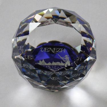 Vintage Murano Glass Paper Weight, Vintage Venice Souvenir, Venetian Glass, Crystal Cobalt Glass by eClectricityVintage