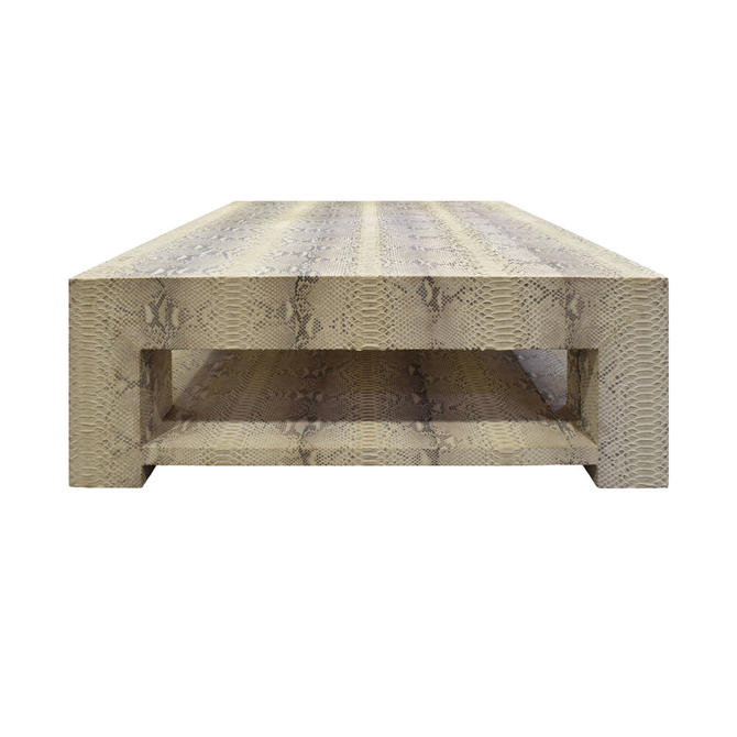 Custom Design Coffee Table Covered In Beige Python ca. 2012