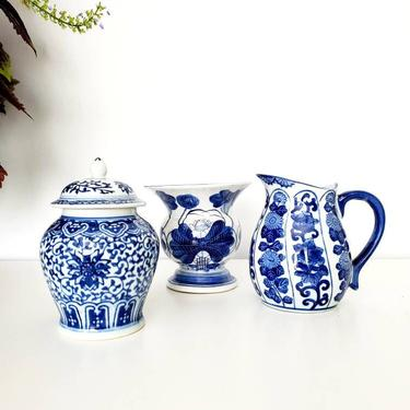 Vintage Blue & White Chinoiserie Urn Planter Vase - Your Choice by pennyportland