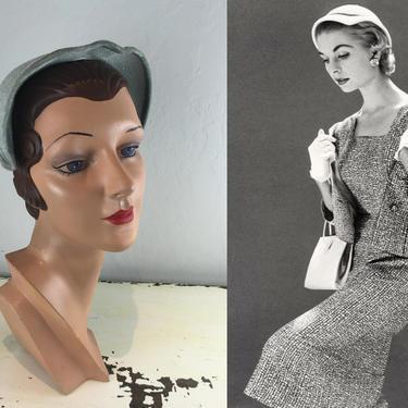Her Downward Glance Just Before - Vintage 1950s Baby Blue Rayon Caplet Hat Juliet Style by RoadsLessTravelled2