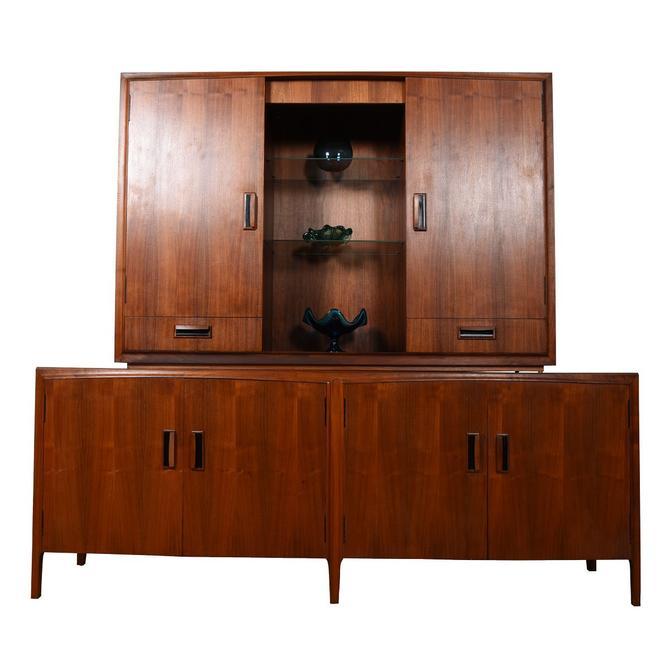 Mid Century Modern Walnut 2 Piece Display / Storage Cabinet