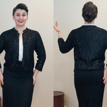 SALE PRICE 1950s Vintage Sweater: Super Sparkly and All Sequin Black Sweater by DomesticatedPinup