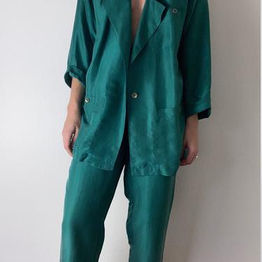vintage emerald green silk pant suit by miragevintageseattle