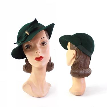 1930s Dark Green Picture Hat Fedora - 1930s Green Fedora - 1930s Womens Green Hat - 30s Green Hat - Womens Vintage Fedora - 30s Green Fedora by VeraciousVintageCo