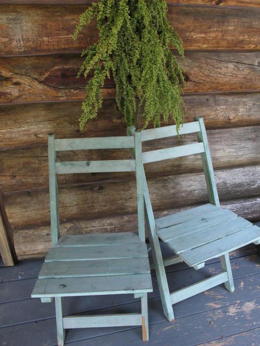 Pair French Country Wooden Folding Chairs Vintage Painted Chairs Shabby Chic Sea Foam Green Blue Wood Fold Up Patio Lawn Outdoor Farmhouse by akaATA