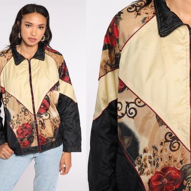 Floral Windbreaker Jacket 90s Color Block Jacket Nylon Vintage 1990s Cream Black Oversized Small S by ShopExile