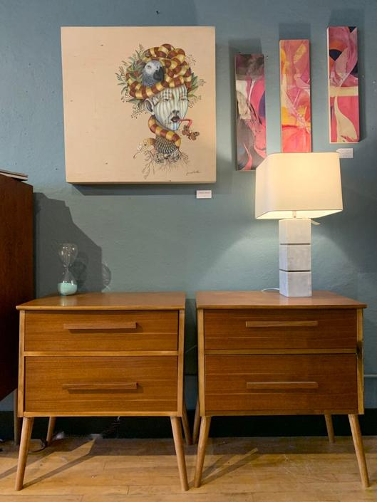 Pair of Local Artist Made Nightstands / Side Tables