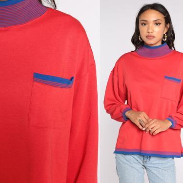 Red Sweatshirt 80s Sweatshirt Mock Neck Shirt Ringer Pocket Sweatshirt Long Sleeve Shirt Slouchy 1980s Vintage Sweat Shirt Medium by ShopExile