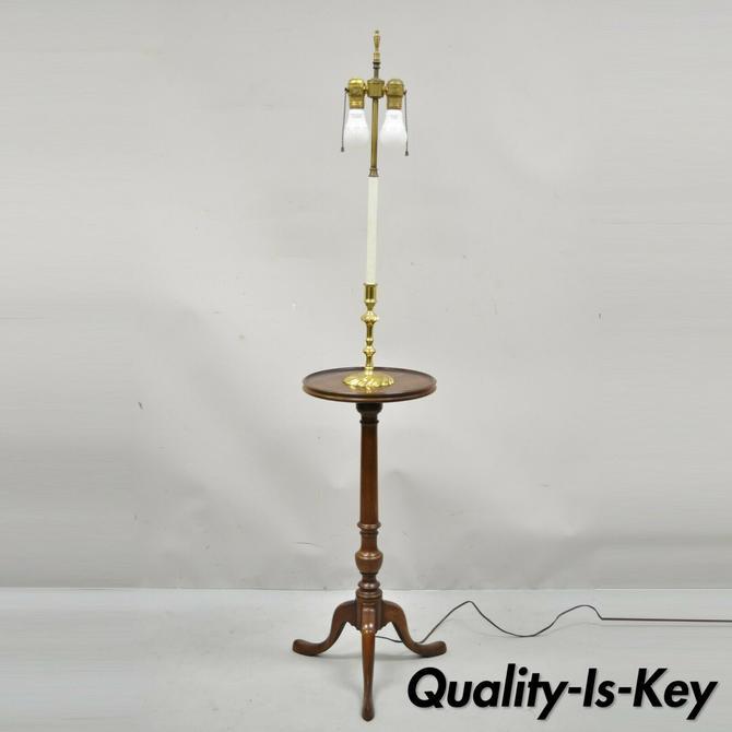 Knob Creek of Morganton Cherry Wood Brass Candlestick Floor Lamp Side Table