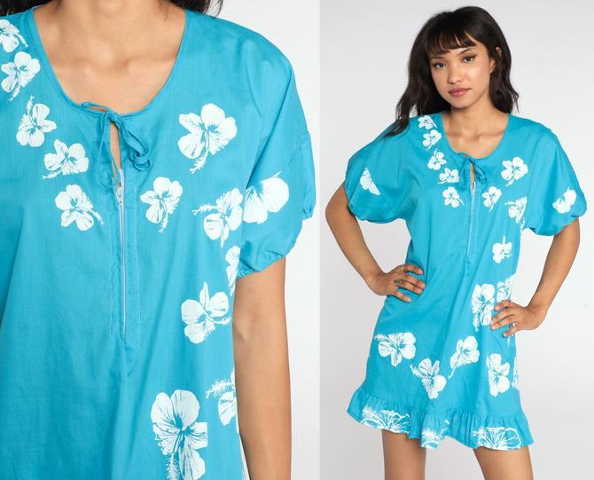 Hawaiian Floral Dress 70s Turquoise Blue Hibiscus Tent Dress Tropical Dress Mini Shift Floral Boho Vintage Minidress Sleeveless Medium by ShopExile
