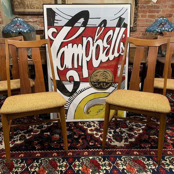 Signed pop art print with mid-century modern dining chairs (4)